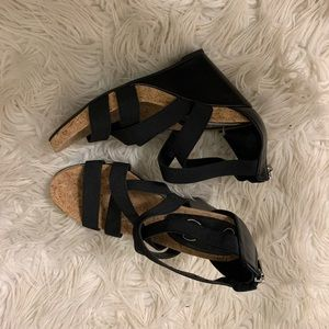 Jessica Simpson stretch straps wedges.